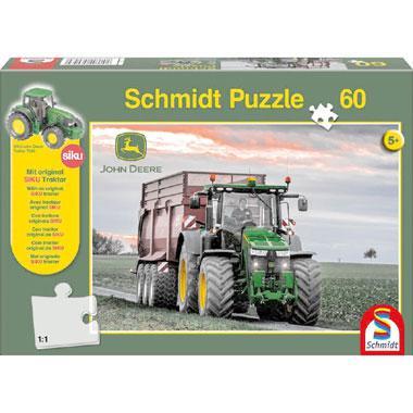 Schmidt John Deere puzzel Siku Tractor met miniatuur 60 stukjes