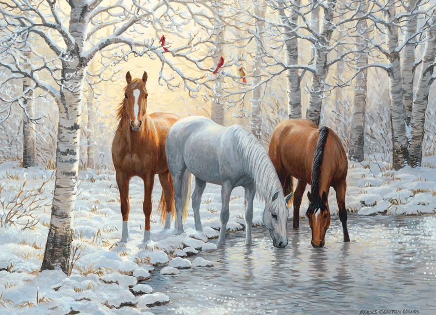 Eureka Cobble hill legpuzzel Winter Paarden 1000 stukjes