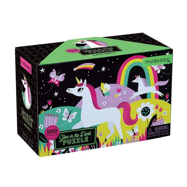 Mudpuppy kinderpuzzel Glow in Dark Eenhoorn 100 stukjes vanaf 5