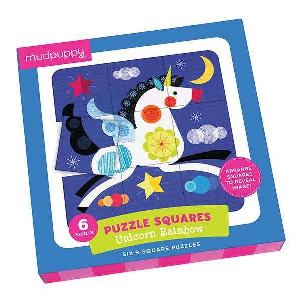 Mudpuppy 6 in 1 puzzel Vierkant Regenboog Eenhoorn 9 stukjes van
