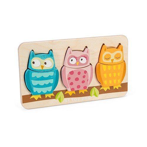 Le toy van puzzel petilou uiltjes 3 stukjes voor peuters