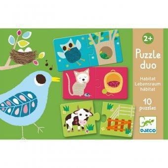 Djeco kinderpuzzel duo Baby Dieren 20 stukjes vanaf 2 jaar