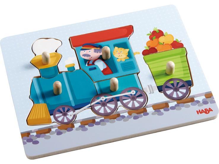 Haba houten inleg kinderpuzzel Trein 5 stukjes voor peuters