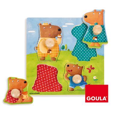 Jumbo houten knop kinderpuzzel Berenfamilie 10 stukjes vanaf 2 j