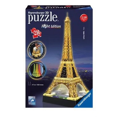 Ravensburger 3D puzzel eiffeltoren Night Edition met LED verlich