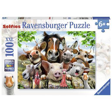 Ravensburger XXL kinderpuzzel Farm Yard Selfies 100 stukjes vana
