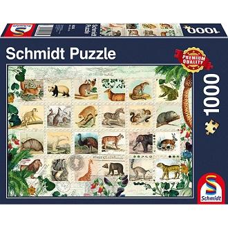 Schmidt puzzel Dierlijke Postzegels 1000 stukjes