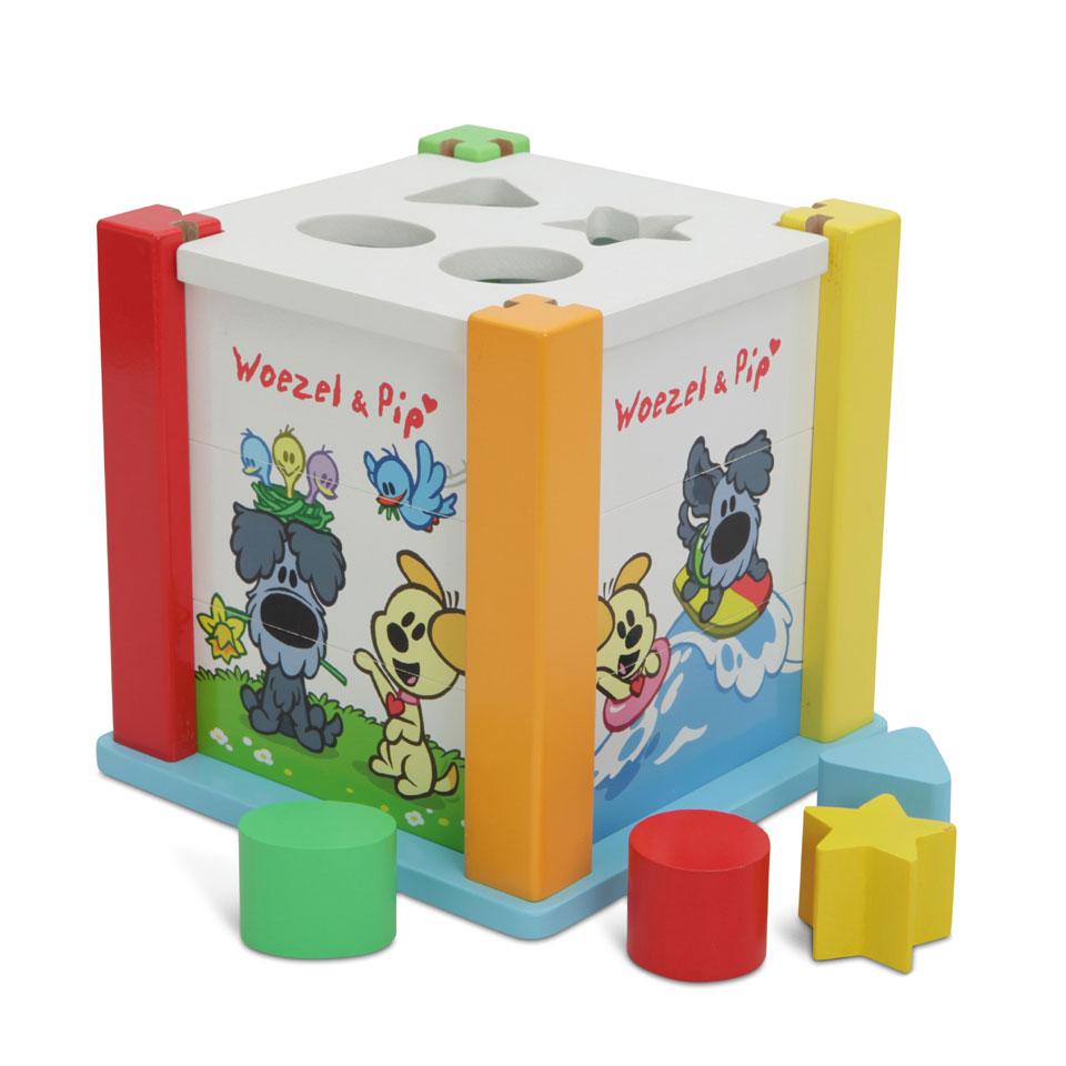 Tiamo Woezel & Pip houten vormenstoof en puzzel 4 stukjes voor p